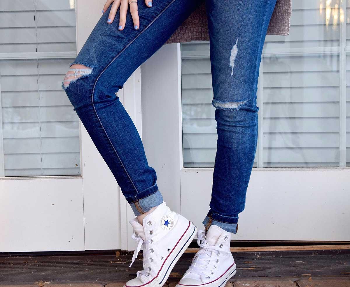 chucks used jeans für damen