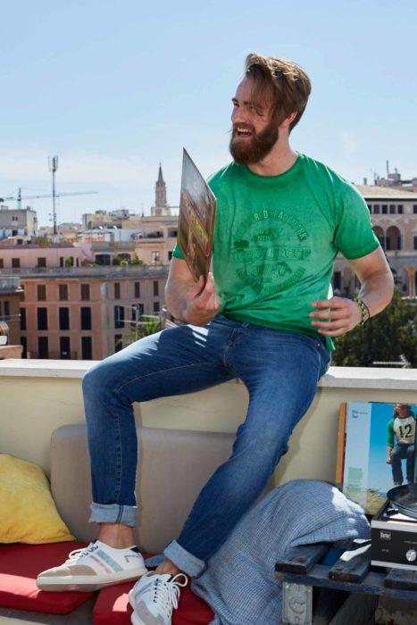 Hipster Jeanshose Herrenshirt