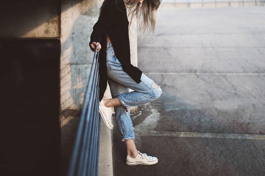 knöchellang Jeans UsedLook